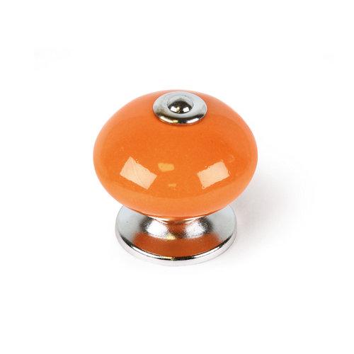 Pomo fabricado en porcelana naranja, medidas: 40x38 mm