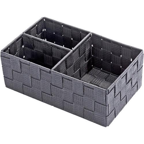 Caja de compartimentos adria gris / plata 17x10 cm