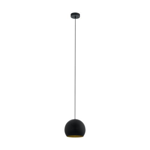 Lámpara rubio esfera 1 luz negro/oro