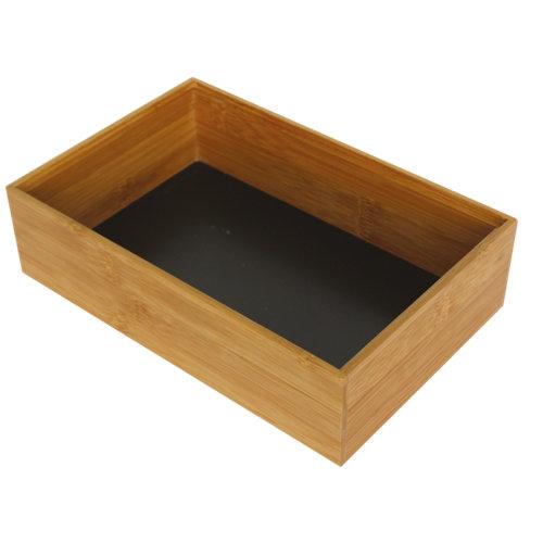Cajón organizador bambú/negro l 15x6.5 cm