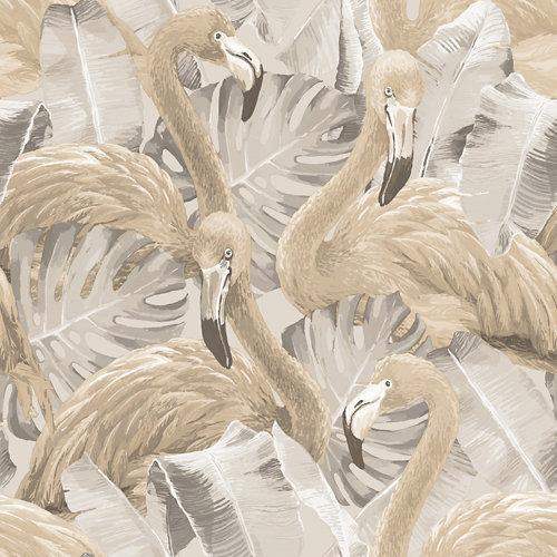 Papel pintado naturaleza flamenco beige para 5,3 m²