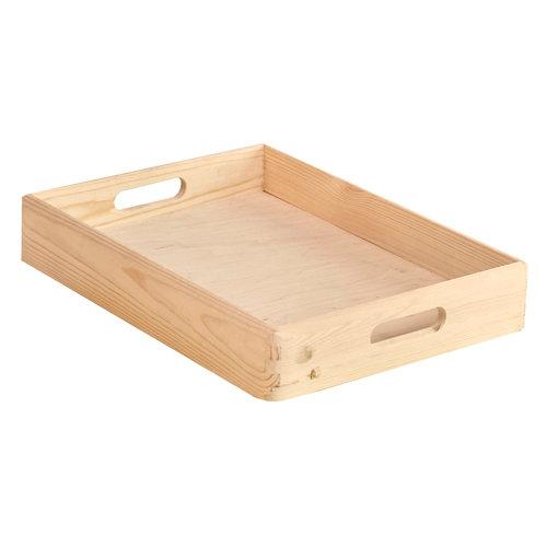 Caja de almacenaje de madera de pino sin tapa 7x40x30cm
