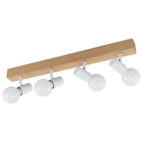 Barra de focos 4 luces townshend madera y blanco