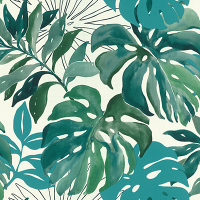 Papel pintado vinílico naturaleza Monstera  verde