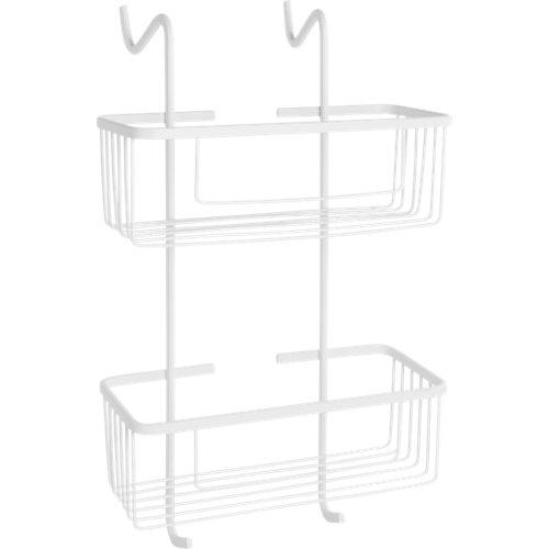 cesto para colgar el mamparas dentro de la ducha blanco 28.5x51x22.5 cm