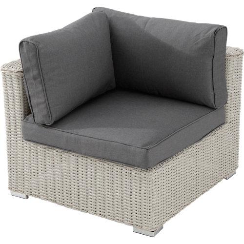 Esquinero+sillón exterior aluminio y ratán costa rica blanco parte conjunto
