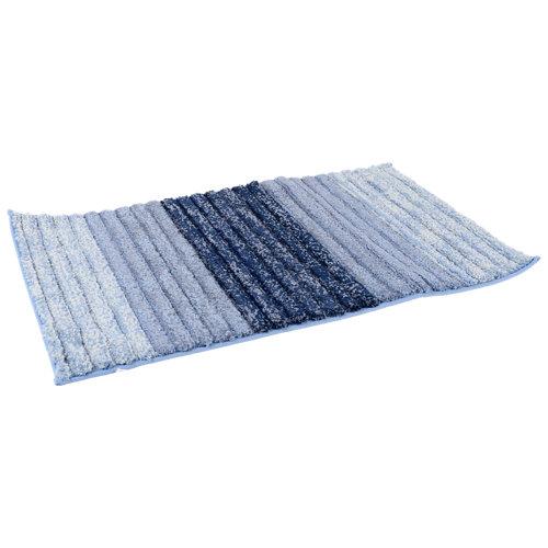 Alfombra de baño microfibra rectangular azul 50x80 cm