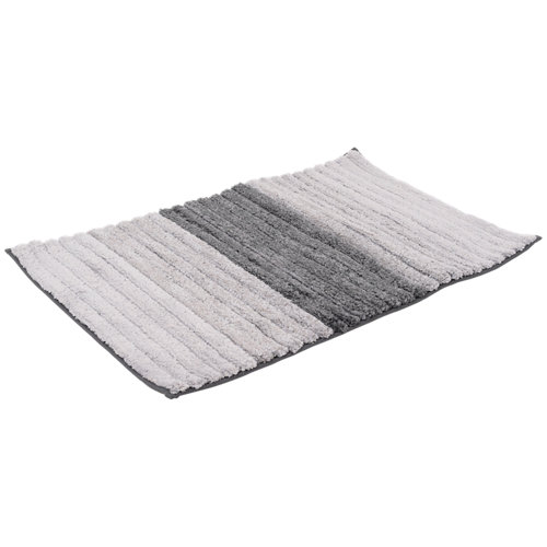Alfombra de baño microfibra rectangular gris 50x80 cm