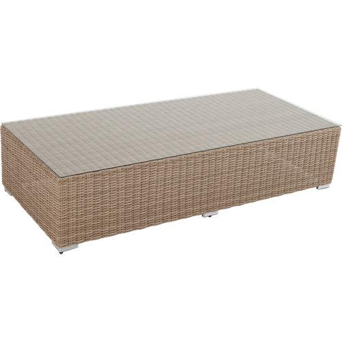 Mesa de jardín baja de aluminio costa rica beige de 80x41x180 cm