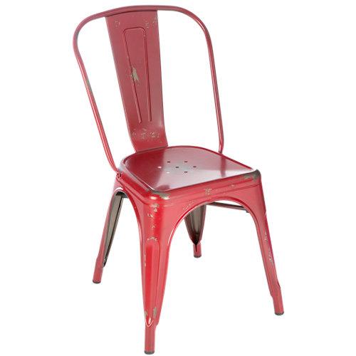 Silla de exterior de acero soho vintage rojo