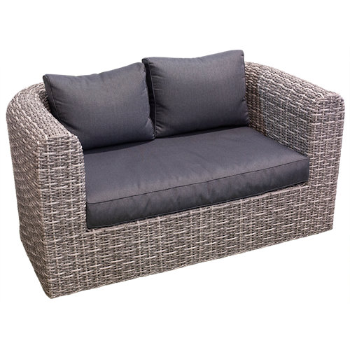 Banco/sofá de exterior 2 plazas ratán sintético nassau gris