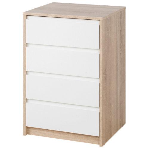 Cajonera 4 cajones serie home blanco-roble 74x50x45cm (altoxanchoxfondo cm)