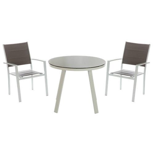 Conjunto de muebles de terraza lisboa de aluminio para 2 comensales