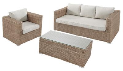 Conjunto de muebles de exterior Costa Rica de ratán sintético para 5 comensales