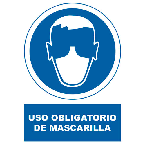 Cartel uso obligatorio de mascarilla 34x23cm