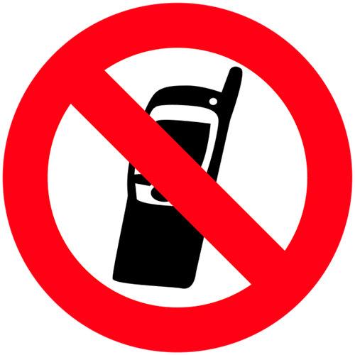 Cartel pvc prohibido moviles 5x5cm