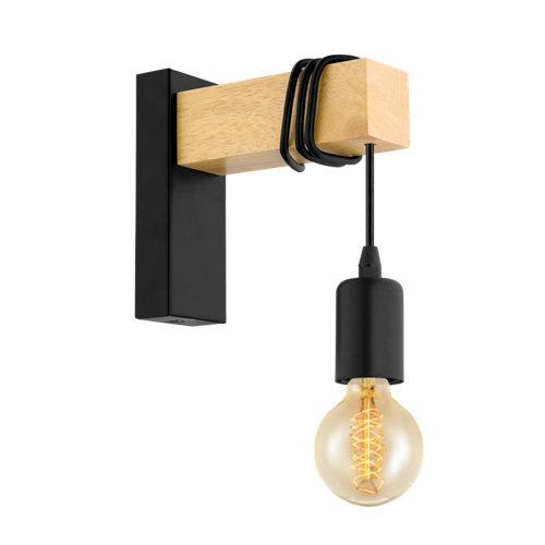 Aplique townshend 1 luz madera y negro