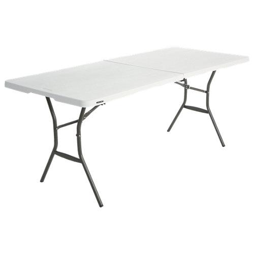 Mesa de jardín de acero catering blanco de 75.9x74x183 cm