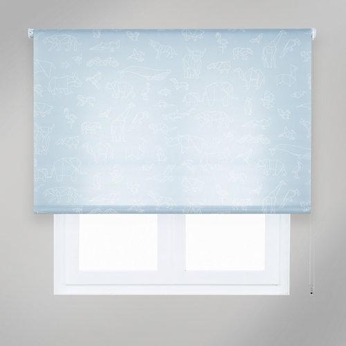 Estor enrollable papiroflexia azul de 94x235cm