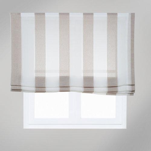 Estor plegable raya ancha marrón 180x175 cm