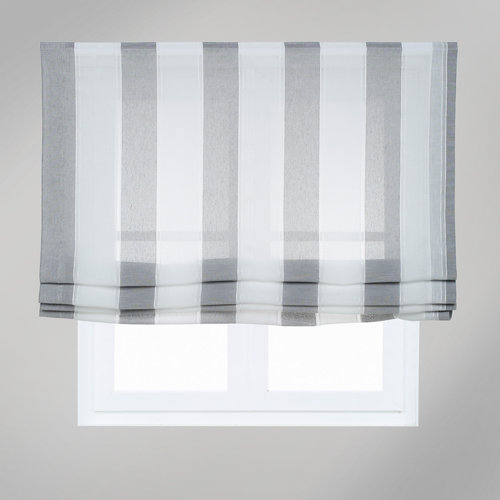 Estor plegable raya ancha gris 135x175 cm