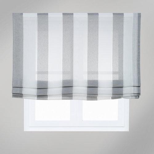 Estor plegable raya ancha gris 75x250 cm