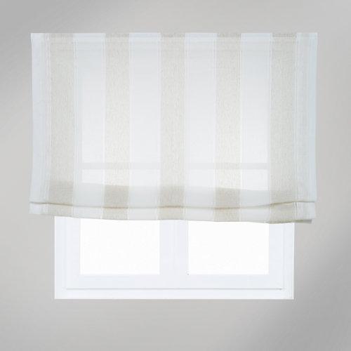 Estor plegable raya ancha beige 135x175 cm