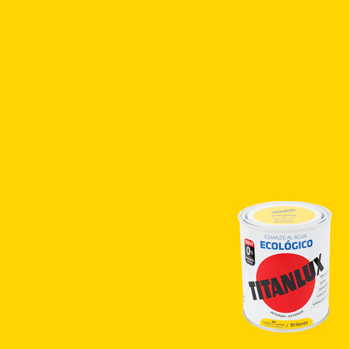 Esmalte al agua titanlux amarillo luminoso brillo 0,75l