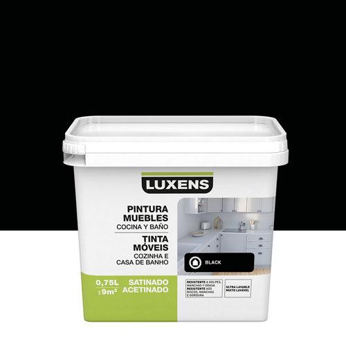 Esmalte para mueble de cocinas y baños satinado luxens 750 ml negro