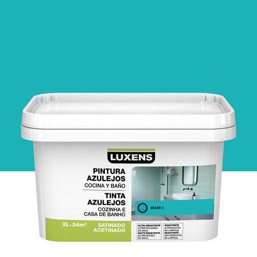 Esmalte para azulejos luxens azul miami satinado 2l