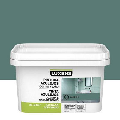 Esmalte para azulejos LUXENS verde laguna satinado 2L