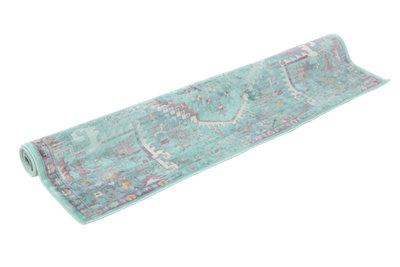 Alfombra color azul viscosa Lara Aqua 160 x 230cm · LEROY MERLIN