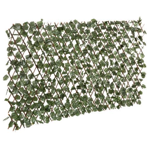 Celosía extensible de mimbre con hojas 100x200 cm