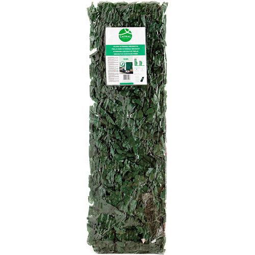 Celosía extensible de mimbre con hojas decorativas 100x300 cm