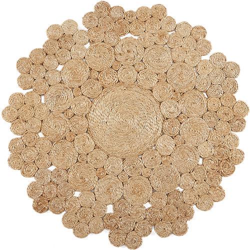 Alfombra marrón yute yute natural 2 100 x 100cm