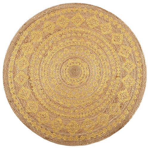 Alfombra amarilla yute yute stampato 90 x 90cm