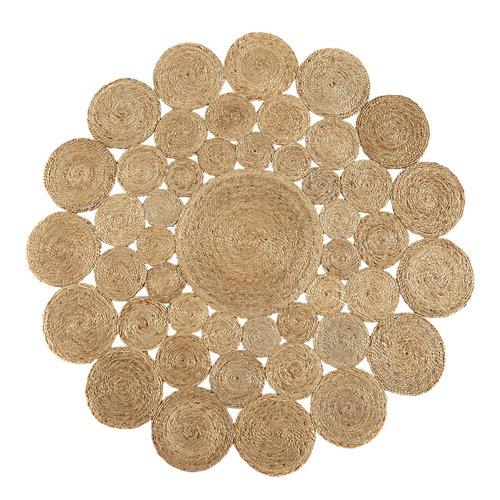 Alfombra marrón yute yute natural 4 100 x 100cm