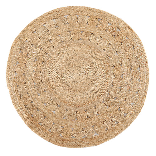 Alfombra marrón yute yute natural 3 100 x 100cm