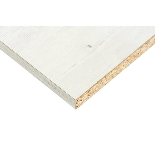 Tablero aglomerado blanco dafne 2 cantos de 59,7x244x1,6 cm (anchoxaltoxgrosor)