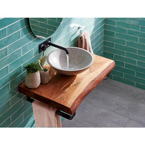 Encimera baño acacia con lavabo cement y dos soportes