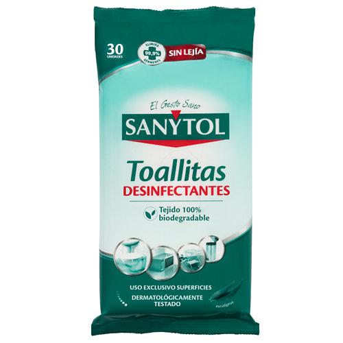 Paquete de 30 toallitas desinfectantes sin lejía sanytol