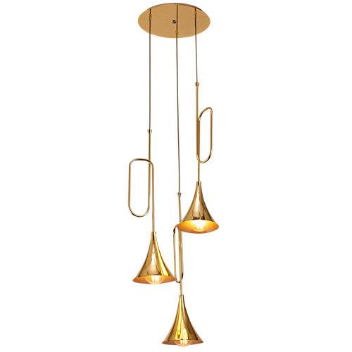 Lámpara de techo jazz amarilla 3 luces