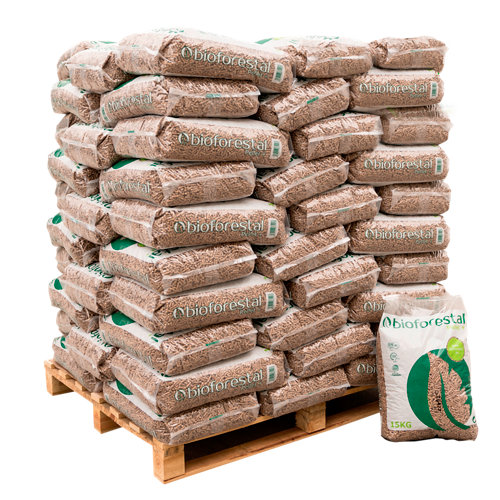 Palet de 70 sacos de pellet bioforestal