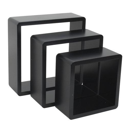 Pack 3 estantes cubo spaceo mdf de color negro 28x28x10x1,5 cm