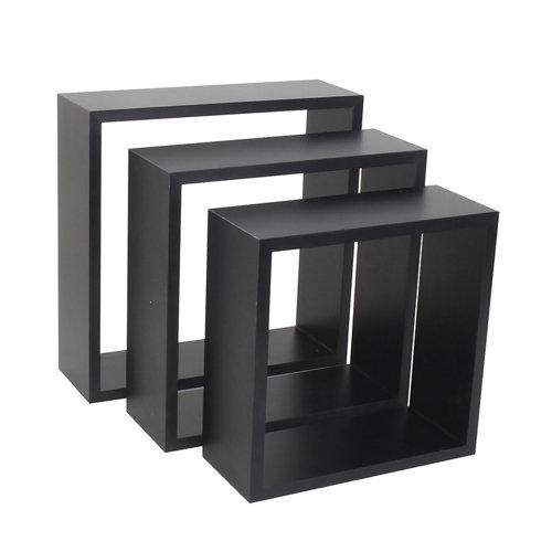 Pack 3 estantes cubo spaceo mdf de color negro 10x1,2 cm