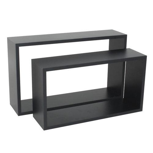 Pack 2 estantes cubo spaceo mdf de color negro 11,5x1,2 cm