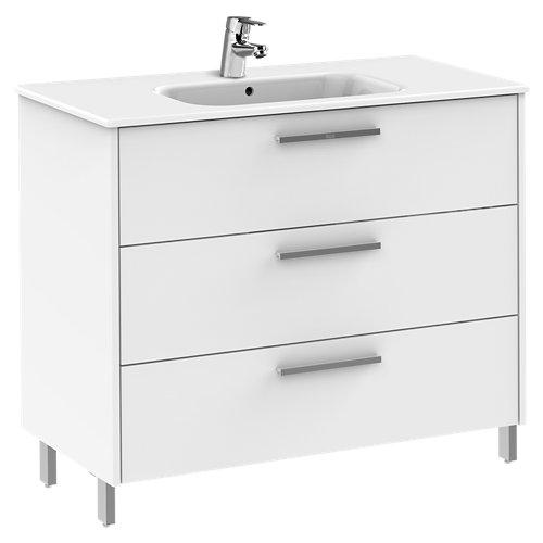 Conjunto baño con lavabo unik apolo blanco 98.5x45 cm