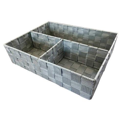 Caja de compartimentos organizadores gris / plata 25x8 cm