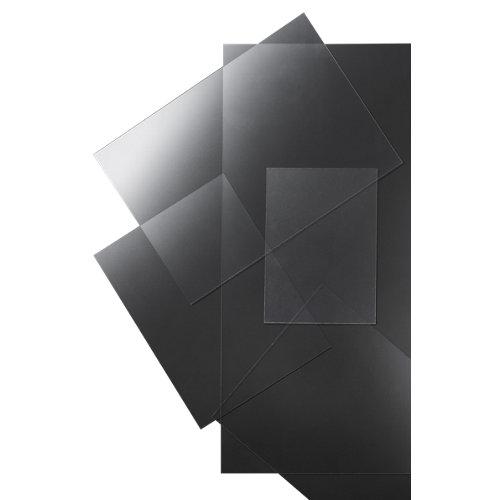 Vidrio plástico transparente deslustrado de 1.2 mm de grosor y 42x29.7cm