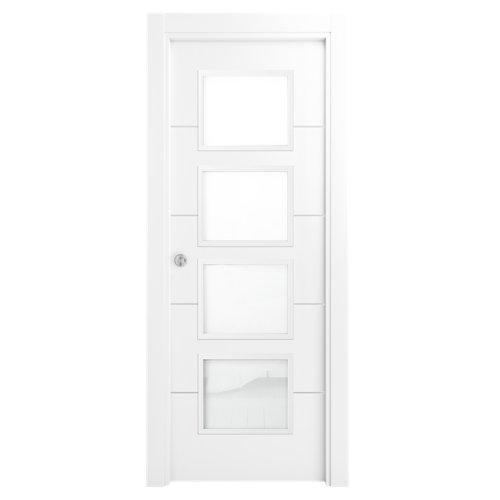 Puerta de interior corredera lucerna premium blanco de 82.5 cm